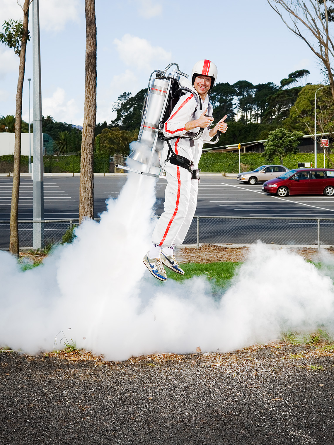 Dougal Wilson propelled by jetpack